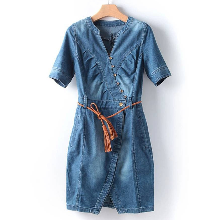 Asymmetrical Cotton Denim Dress 1030