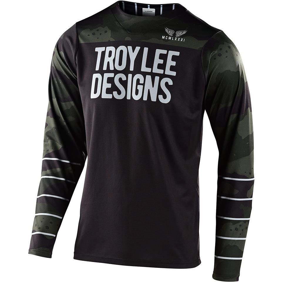 Troy Lee Skyline Pinstripe Camo Long Sleeve Race Jersey  -  Green/Black
