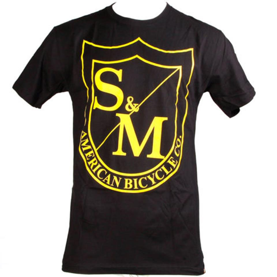 S&M Big Shield T-Shirt - Yellow On Black