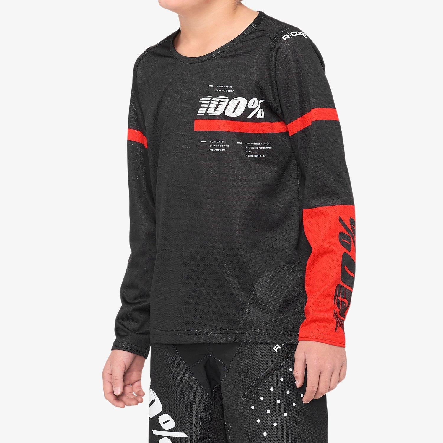 100% R-Core Race Youth Jersey - Black/Red