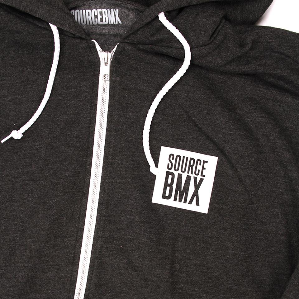 Source Block Premium Zip Hoodie - Black Heather