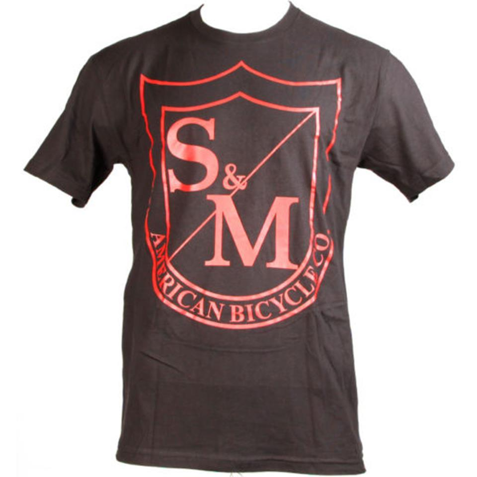 S&M Big Shield T-Shirt - Red On Black