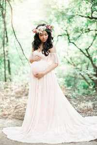 Women's Lace Maternity Dresses With Short Sleeves And Long Skirts
