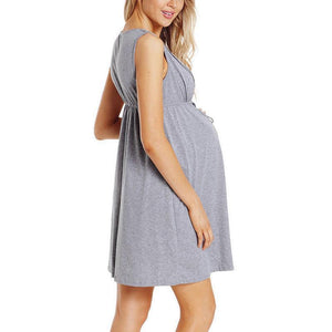 Maternity Sleeveless Solid Light Gray Lace Feedng & Nursing Dress