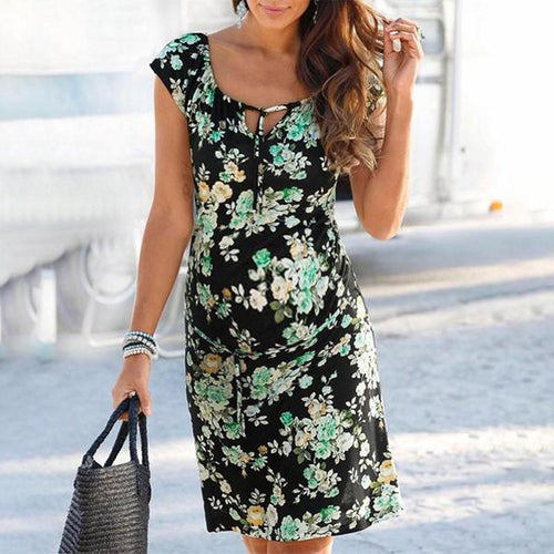 Maternity Plant Printing Bodycon Dress