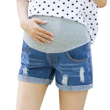 Load image into Gallery viewer, Maternity Abdomen Broken Hole Denim Shorts