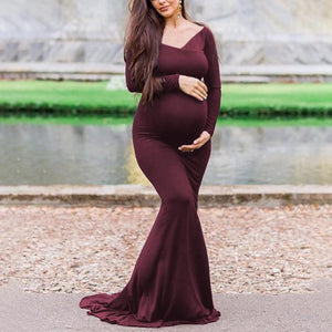 Maternity Deep V Long Sleeve Floor-Length Formal Dress