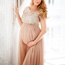 Load image into Gallery viewer, Maternity Maxi Tulle Dress With Tonal Delicate Sequins