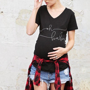 V-Neck Stylish And Comfortable Printed Maternity Short-Sleeved T-Shirt
