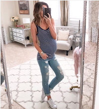 Load image into Gallery viewer, Maternity Stripe Tank Top