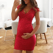 Load image into Gallery viewer, Maternity V-Neck Lace Bodycon Dress