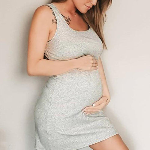 Maternity Plain Sleeveless Casual Above Knee Dress
