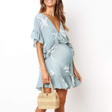 Load image into Gallery viewer, Maternity V-Neck Falbala Loose Daily Dress