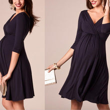 Load image into Gallery viewer, Maternity 3/4 Sleeve V-Neck Comfy Dress