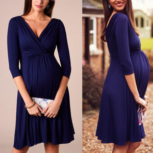 Maternity 3/4 Sleeve V-Neck Comfy Dress