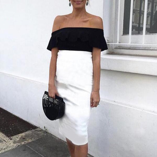 Maternity Color Block Off Shoulder Dress