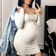Load image into Gallery viewer, Maternity Single-Breasted One-Neck Long Sleeve Casual Dress