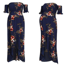 Load image into Gallery viewer, Off Shoulder  Asymmetric Hem  Floral Printed  Extra Short Sleeve Maxi Dresses