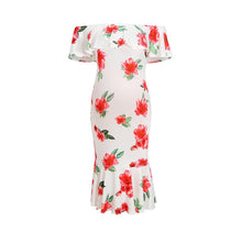 Load image into Gallery viewer, Maternity Ruffle White Floral Print Slash Neck Dress