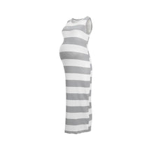 Load image into Gallery viewer, Maternity Side Slit Cut Wide Stripes Sundress