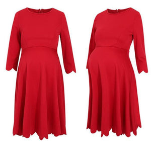 Scalloped Hem Maternity Dress