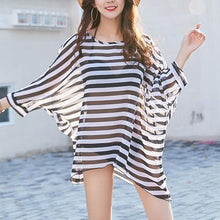 Load image into Gallery viewer, Round Neck See-Through Striped Batwing Sleeve Tunic