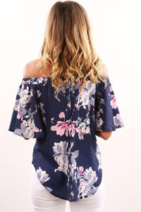 Off Shoulder  Backless  Smocked Bodice Shirts