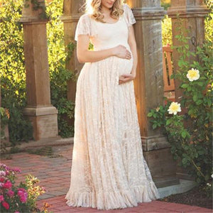 Maternity Flounced Lace Dress