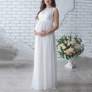 Maternity Lace Patchwork Full Length Dress