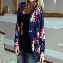 Load image into Gallery viewer, Flower Print Open-Front Blazer