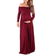 Load image into Gallery viewer, Maternity Off Shoulder Long Sleeve Full Length Dress