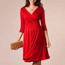 Load image into Gallery viewer, Maternity Solid Red V-Neck Midi Dress