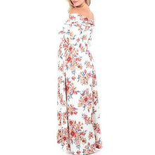 Load image into Gallery viewer, Maternity Off Shoulder Floral Print Full Length Dress