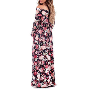 Maternity Off Shoulder Floral Print Full Length Dress
