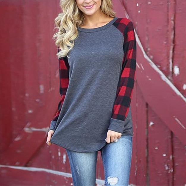 Plaid Round Neck Long Sleeve Tee