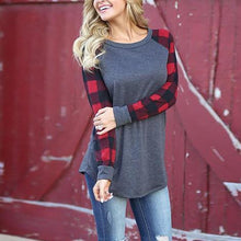 Load image into Gallery viewer, Plaid Round Neck Long Sleeve Tee