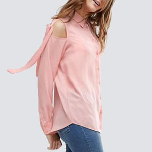 Maternity Lace Up Cold Shoulder Shirt