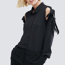 Load image into Gallery viewer, Maternity Lace Up Cold Shoulder Shirt