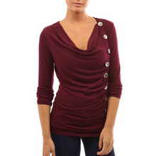 Load image into Gallery viewer, Maternity Button Decorated Cowl Neck Tee