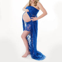 Load image into Gallery viewer, Maternity Strapless Lace Trailing Dress
