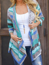 Load image into Gallery viewer, Asymmetric Hem  Striped Cardigans