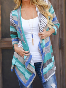 Asymmetric Hem  Striped Cardigans