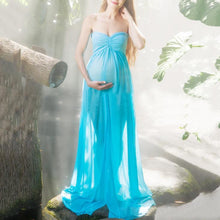 Load image into Gallery viewer, Maternity Off Shoulder Front Slit Chiffon Maxi Dress