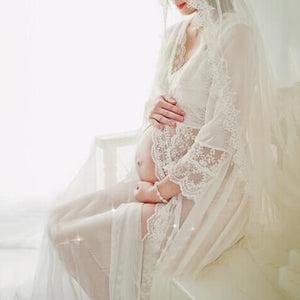Maternity Lace See-Through Full Length Dress