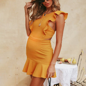 Maternity Solid Color Sleeveless Halterneck Mini Dress
