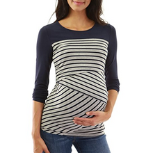 Load image into Gallery viewer, Crewneck Striped Nursing Maternity Tee