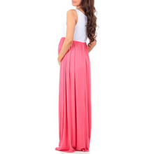 Load image into Gallery viewer, Maternity Sleeveless Ruched Color Block Maxi Dress