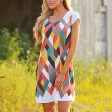 Load image into Gallery viewer, Round Neck Geometric Printed Casual Dresses