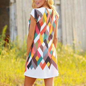 Round Neck Geometric Printed Casual Dresses