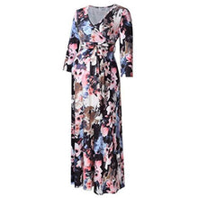 Load image into Gallery viewer, Maternity  3/4 Sleeve Floral Print Dresses With Adjustable Belt